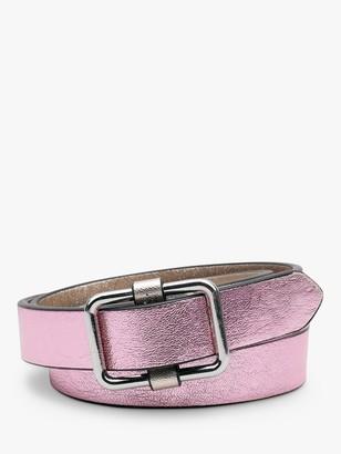 Hush Perusia Skinny Leather Belt, Metallic Pink