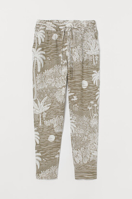 H&M Pull-on Linen Pants - Green