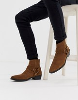 Asos Design DESIGN cuban heel western chelsea boots in tan suede with buckle detail