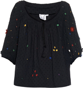 Thierry Colson Evita Garden-embroidered cotton top