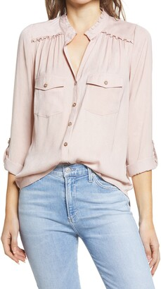 Wit & Wisdom Ruffle Button-Up Blouse