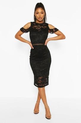 boohoo Lace Crochet Sleeve Detail Midi Dress