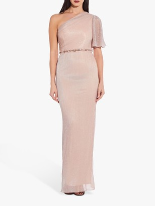 Adrianna Papell One Shoulder Glitter Knit Column Gown, Blush