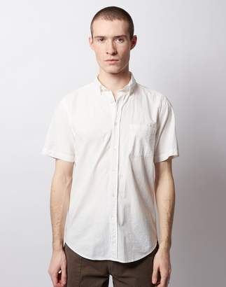 Atlantico Portuguese Flannel Button Down Short Sleeve Shirt White