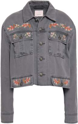 Cinq à Sept Folk Canyon Cropped Embroidered Denim Jacket