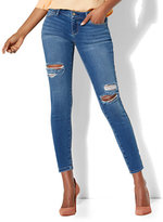 New York & Co. Soho Jeans - Destroyed Ankle Legging - Blue Society Wash