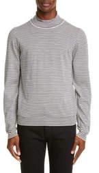 Maison Margiela Stripe Mock Neck Wool Sweater