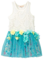 Baby Sara Lace Overlay Top & Flower Petal Trim Mesh Bottom Dress (Toddler & Big Girls)
