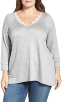 Bobeau Plus Size Women's Lace Trim Sweatshirt