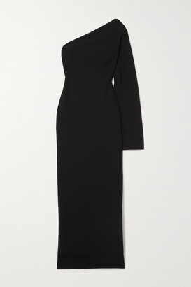 SOLACE London Callie One-sleeve Stretch-cady Maxi Dress - Black