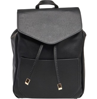 French Connection Womens Faux Leather Drawstring Backpack Black