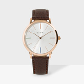 Paul Smith Unisex White, Rose Gold And Brown 'Ma' Watch