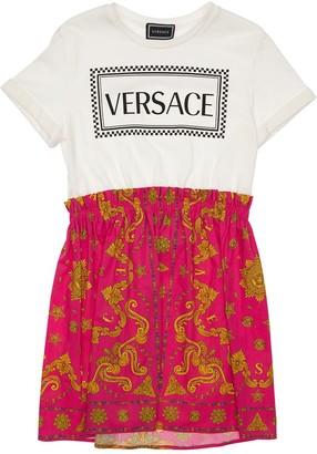Versace Logo Print Cotton Jersey & Poplin Dress
