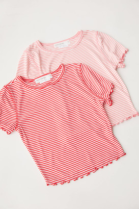 Urban Renewal Vintage Remnants Striped Lettuce Edge Baby Tee