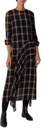 Akris Punto Windowpane Check Long Sleeve Midi Dress