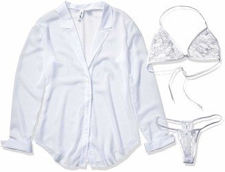 Dreamgirl Women's Sheer Shirt and Bra Set