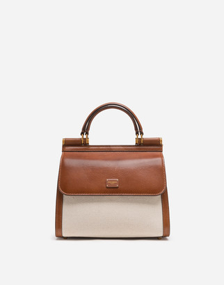 Dolce & Gabbana Small Sicily 58 Bag In Canvas And Cowhide