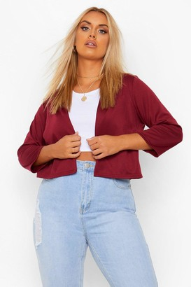 boohoo Plus Crop Ponte Edge To Edge Blazer