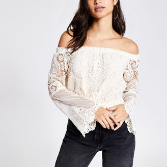 River Island Womens Petite Cream lace bell sleeve bardot top