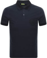 Versace Tipped Polo T Shirt Navy