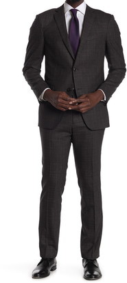 John Varvatos Collection Brown Grid Print Two Button Notch Lapel Stretch Wool Tailored Fit Suit
