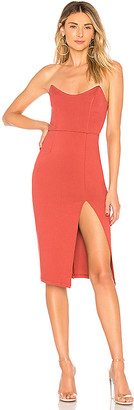 superdown Zarah Strapless High Slit Midi Dress