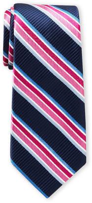 Ike Behar Ike By Navy & Pink Stripe Tie