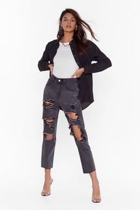 Nasty Gal Womens Broken Dreams Club Distressed Denim Jeans - Black - 10