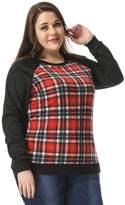 uxcell Agnes Orinda Women's Plus Size Raglan Sweatshirt in Plaid Front