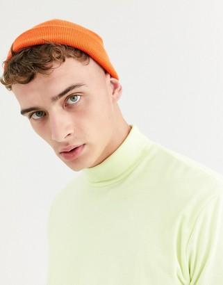 Asos DESIGN mini fisherman beanie in neon orange