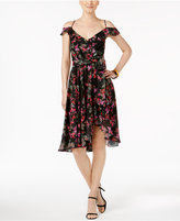 Betsey Johnson Printed Cold-Shoulder Wrap Dress