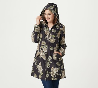Dennis Basso Printed Water Resistant Jacket with Detachable Hood