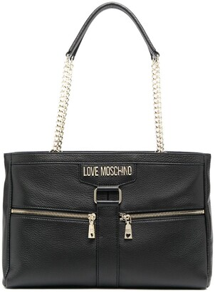 Love Moschino Leather Logo Plaque Tote Bag