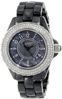 Isaac Mizrahi Women's IMN45B Crystal Bezel Black Ceramic Bracelet Watch