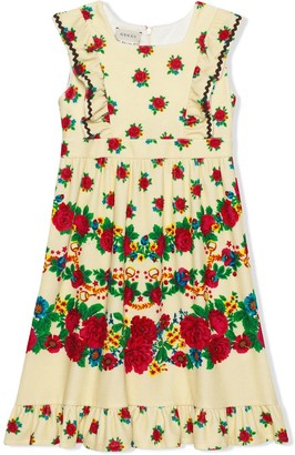 Gucci Kids Flowers And Stirrups Print Sleeveless Dress
