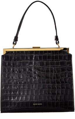 Mansur Gavriel Croc-Embossed Leather Shoulder Bag