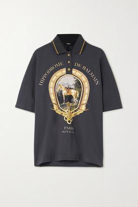 Balmain Printed Cotton-pique Polo Shirt - Navy