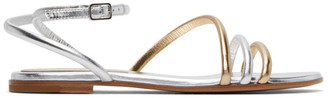 Gianvito Rossi Silver and Gold Bekah 05 Flat Sandals