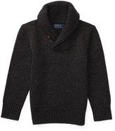 Ralph Lauren Cashmere Shawl-Collar Pullover Sweater, Heather Gray, Size 2-7