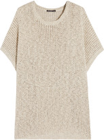 James Perse Open-knit cotton and linen-blend top