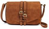 Merona Women's Vertical Buckles Crossbody Faux Leather Handbag