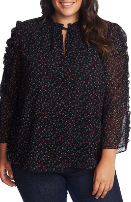CeCe Wistful Blooms Ruffled Blouse