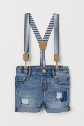 H&M Denim shorts and braces