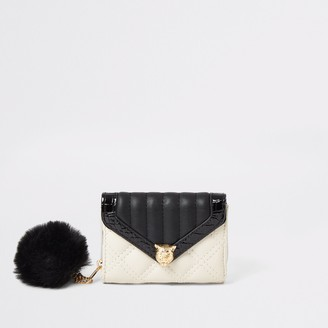 River Island Girls Cream quilted panther fold out purse