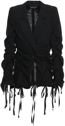 Ann Demeulemeester Bow-detailed Ruched Wool-twill Blazer