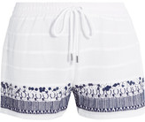 MICHAEL Michael Kors Embellished Embroidered Cotton Shorts - White