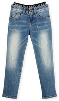 Armani Junior Slim-Fit Faded Stretch Jeans, Navy, Size 4-12
