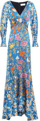 Peter Pilotto Floral-print Hammered Stretch Silk-satin Gown