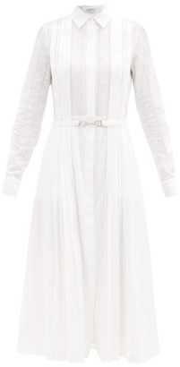 Gabriela Hearst Vera Ladder-lace Cotton-voile Shirt Dress - White Navy