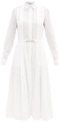 Gabriela Hearst Vera Ladder-lace Cotton-voile Shirt Dress - White Navy